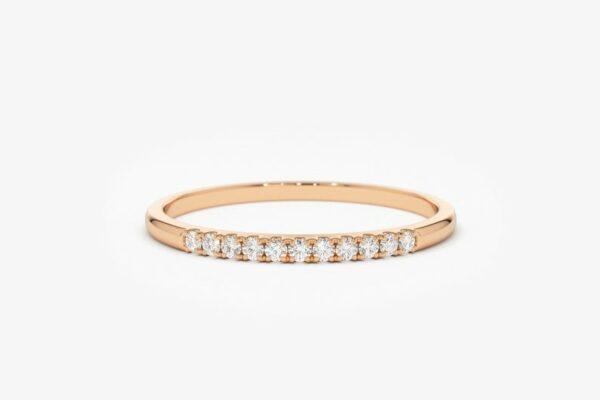 1.Classic Round 11-Stone White Diamond Wedding Band 14k Yellow Gold