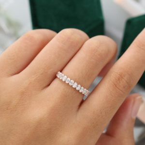 0.70 ctw Oval White Diamond, Half Eternity Wedding Matching Band 14k Rose Gold