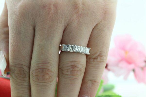 5 Stone Wedding Band With 1.25 ctw Princess Diamond 14k Gold Plated