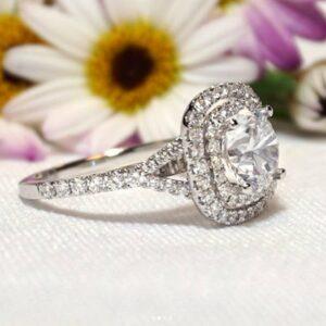 2.25Ctw Round Diamond Double Halo Engagement Ring 14K White Gold