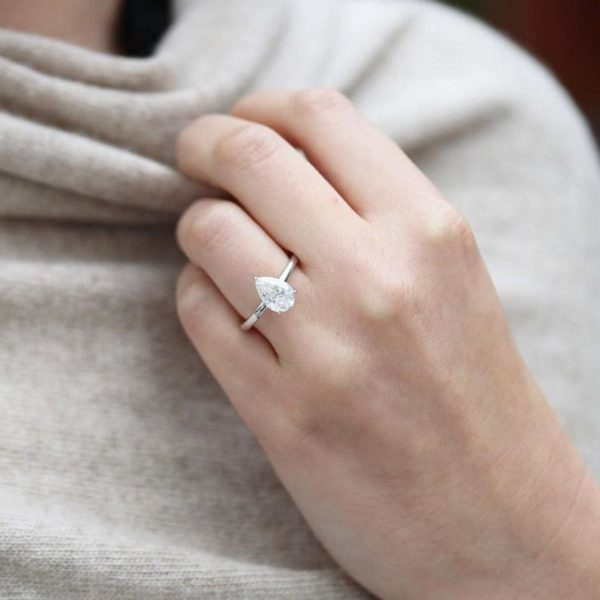 Solitaire Pear Cut Diamond Engagement Ring 14K White Gold Plated
