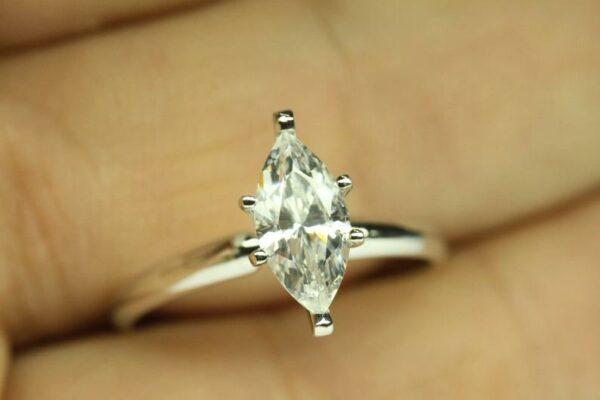 2 Carat Diamond Ring Marquise Cut Engagement Ring 14K White Gold
