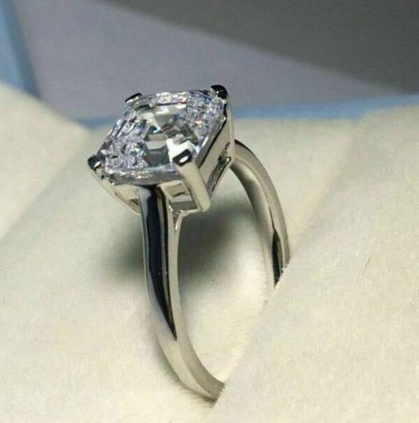 2.00 Asscher Cut Diamond Solitaire Engagement Ring 10K White Gold