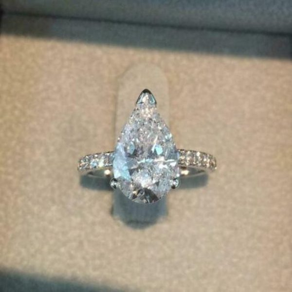 3Ctw Pear Cut Diamond Solitaire Engagement Ring 925 Sterling Silver