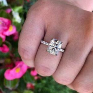 3.55 Ctw Cushion Diamond Hidden Halo Engagement Ring 14K White Gold