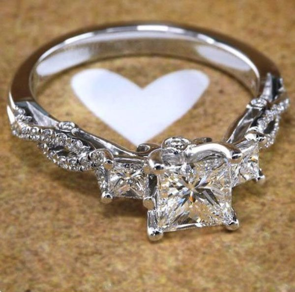 3Ct Princess Cut Diamond Three Stone Engagement Ring 14K Gold