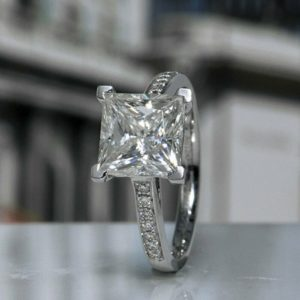 3Ct Princess Cut Diamond Solitaire Wedding Engagement Ring 14K Gold
