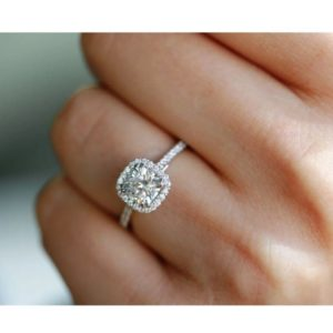 2.36Ctw Cushion White Diamond Halo Engagement Ring 925 Sterling Silver