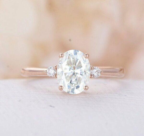 3 Stone Oval Diamond Engagement Ring 14K Rose Gold