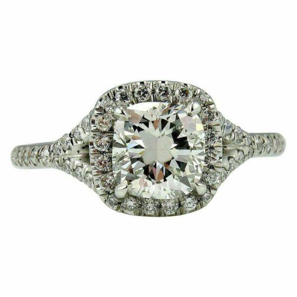 2.55Ctw Cushion Cut Diamond Halo Engagement Ring 14K White Gold