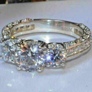 2.60 Ctw Three Stone Diamond Engagement Ring 14K White Gold Plated