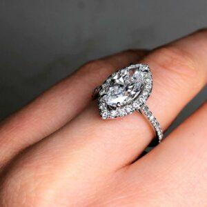 2.65ctw Marquise Cut Brilliant Diamond Halo Engagement Ring 14k White Gold
