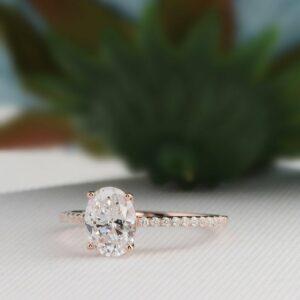 2.33Ctw Oval Cut Brilliant Diamond Classic Engagement Ring 14k Rose Gold