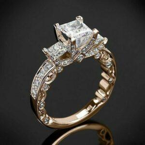 3.80 Ctw Unique 3 Stone Princess Diamond Engagement Ring 14k Rose Gold