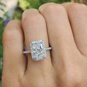 2.63 Ctw Radiant White Diamond Halo Fancy Engagement Ring 10k White Gold