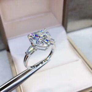 5 Ctw Heart Shape & Side Baguette Diamond 3 Stone Fancy Engagement Ring 14k White Gold