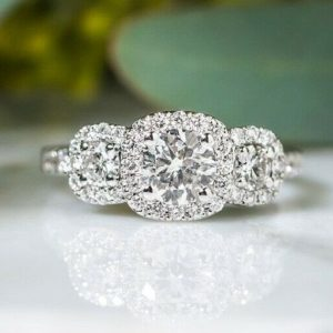 3 Stone Halo Engagement Ring 2.85 Ctw Round Diamond With 14k Gold Over