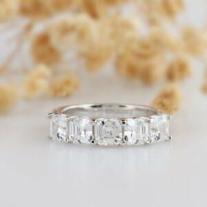 2.15 Ctw Solitaire 5 Stone Asscher Cut Diamond Wedding Engagement Ring 14k White Gold