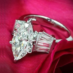 2.56 Ctw Solitaire Marquise Cut Diamond Wedding Engagement Ring Solid 14k White Gold