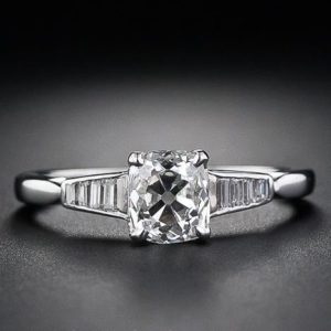 Art Deco 1.94 Ctw Cushion Cut Diamond 925 Sterling Silver in Engagement Ring