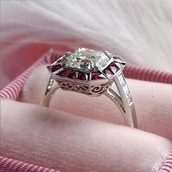 Vintage 2.60Ct Asscher Cut Brilliant Diamond Pink Sapphire Engagement Ring 14k Gold Over
