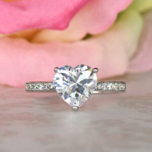 3.CT Heart Shape Diamond Lovely Engagement Ring Valentine's Ring 925 Sterling Silver