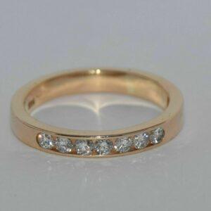 1.75 Ctw Brilliant Channel Set Diamond 7 Stone Wedding Band 14k Yellow Gold