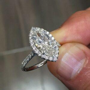 1.50 Ctw Marquise Cut Brilliant Diamond Halo Fancy Engagement Ring 10k White Gold