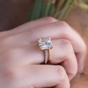 3.12 Ctw Asscher Cut Solitaire Diamond Engagement Ring Set 14k Yellow Gold