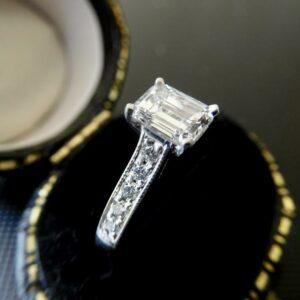 Art Deco 2.34 CT Emerald Cut Diamond Classic Engagement Ring 14k White Gold
