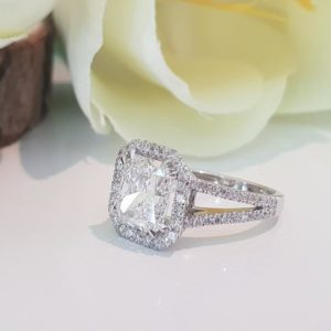 3.00Ctw White Radiant Diamond Halo 2 Shank Engagement Ring 14k White Gold