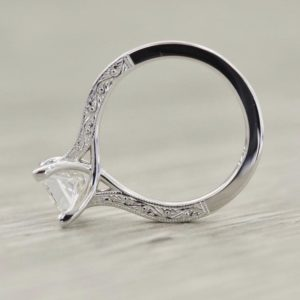 2.34 Carat Princess Cut White Diamond Art Deco Engagement Ring 14k Gold Plated