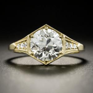Art Deco Style 2.38 Carat Brilliant Cut Diamond Engagement Ring 14k Yellow Gold Plated