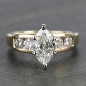 1.88 CT Marquise Diamond Solitaire Channel Set Engagement Ring 14k Yellow Gold Finish