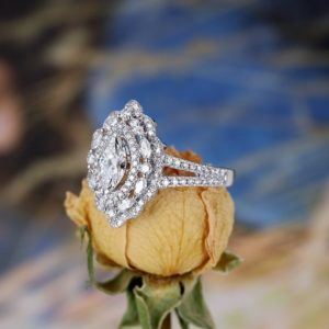 2.50 Ctw White Marquise Cut Diamond Best Engagement Ring 925 Sterling Silver
