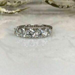 1.96 Ctw  U-Prong Solitaire 5-Stone Round Cut Diamond Wedding Ring 14k White Gold