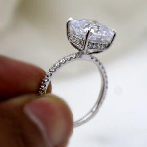 3.43 CT Asscher Cut White Diamond Hidden Halo Solitaire Engagement Ring 14k White Gold