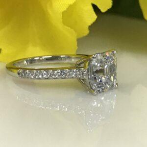 2.35 Carat Solitaire Asscher Cut Diamond Engagement Ring 925 Sterling Silver