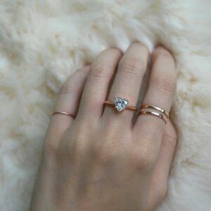 2.00 Carat Heart Shape Solitaire Diamond  Classic Engagement Ring 14k Rose Gold