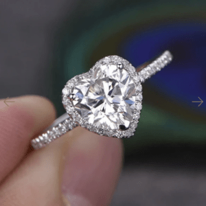 2.34 Carat Heart Shape Brilliant Diamond Halo Engagement Ring 14k Gold Plated