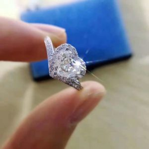 2.30 Ctw Heart Shape White Diamond Halo With Accent Engagement Ring 10K White Gold