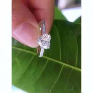 2.20 Ctw Heart Shape Solitaire Diamond With Accent Engagement Ring 925 Sterling Silver