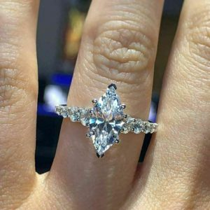 Solitaire 1.80 Carat Marquise Cut Diamond Anniversary Engagement Ring Real 925 Sterling Silver