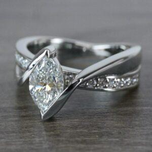 1.86 Ctw Half Pear Cut Diamond Unique Engagement Ring Solid 14k White Gold