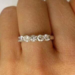 Unique 5 Stone 2.18Ctw Brilliant Cut Round Diamond Wedding Ring 14k White Gold