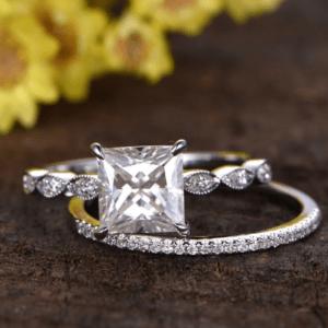 2.53 Ctw Princess Diamond Engagement Ring Art Deco Bridal Set 14k White Gold