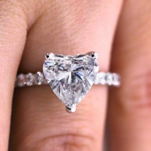 2.30 Ctw White Heart Shape Brilliant Diamond Solitaire Engagement Ring 14k White Gold