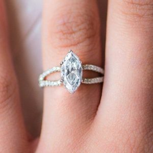 2.11 Ctw Marquise 6 Prong Solitaire Diamond Split Shank Engagement Ring 14k White Gold Plated