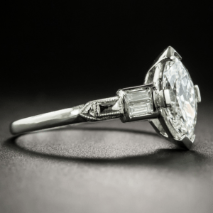Art Deco 2.04 Carat Marquise Diamond Classic Engagement Ring 925 Sterling Silver