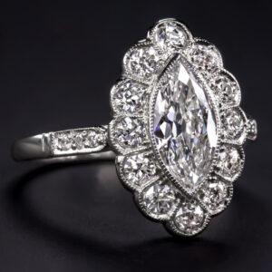 2.50 Ctw Bezel Marquise Cut Diamond Flower Halo Engagement Ring 14k Gold Over